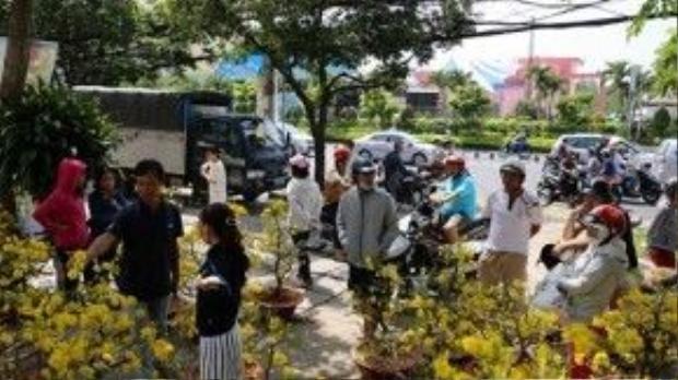 Càng đến giờ chót, người dân tới càng đông để mua hoa đại hạ giá - Ảnh: Độc Lập