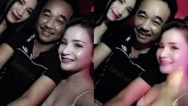 Bức ảnh của Quốc Khánh chụp cùng hai cô gái trẻ ăn mặc gợi cảm từng gây xôn xao cộng đồng mạng