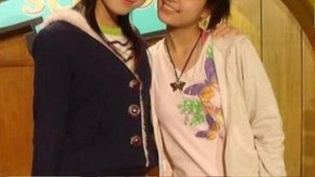 """Hoàng Thùy Linh của năm 2004 khi cô dẫn chương trình """"Vui cùng Hugo"""""""