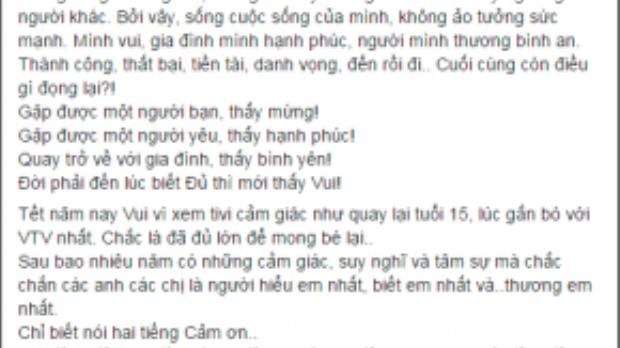 Status đầy hạnh phúc của Hoàng Thùy Linh khi được biểu diễn lại cho VTV trong ngày mùng 1 Tết.