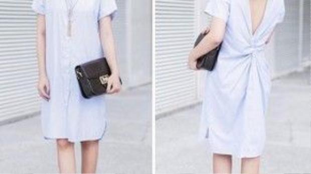 Văn Mai Hương trẻ trung và lôi cuốn với váy kiểu sơ mi, cách điệu hở lưng sau.