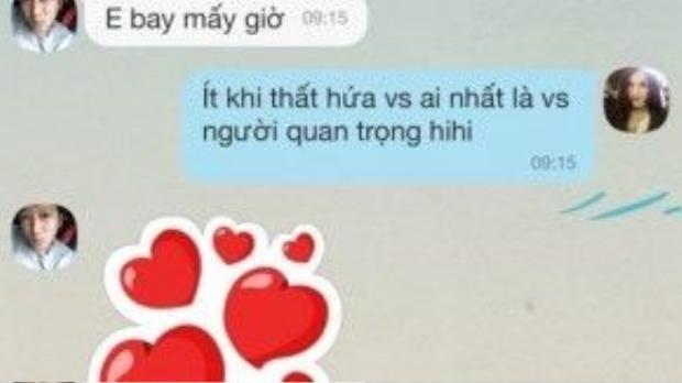 """Để khẳng định việc Quế Vân và Trường Giang yêu nhau là thật, cô nàng còn liên tục đăng lên FB những tin nhắn """"mặn nồng""""."""