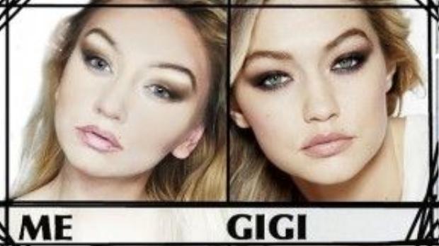 """Gigi Hadid (phải) bên """"chị em song sinh"""" được tạo ra nhờ kỹ thuật make up."""
