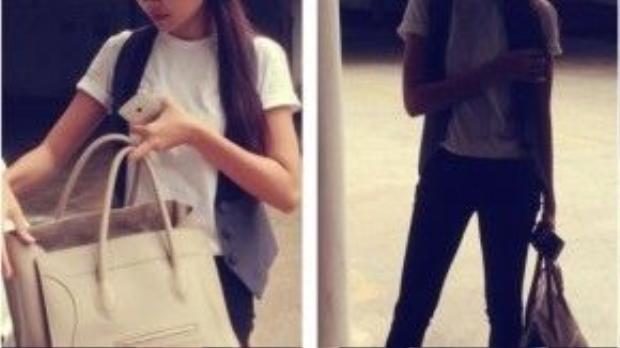 Trong khi đó, siêu mẫu Thanh Hằng bên chiếc túi Céline Phantom màu kem với style tối giản.