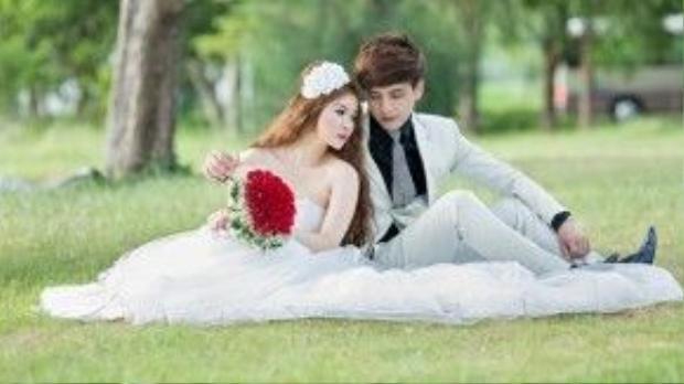 Hình cưới của Hồ Quang Hiếu và hot girl Ivy được một studio ở Sài Gòn thực hiện.