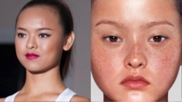 Khuôn mặt bầu, vầng trán rộng, đôi mắt châu Á và khuôn miệng nhỏ xinh của Quỳnh Mai khá giống với Devon.