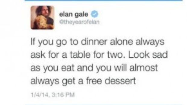 Bí quyết của Elan Gale đã truyền động lực để Kyle Baldinger cố gắng có được một bữa tráng miệng miễn phí.