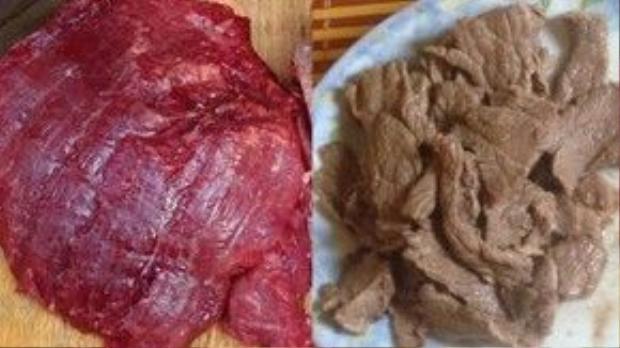 Thịt bò giả (trái) có màu đỏ au, nhưng khi nấu lên lại tái nhợt, thớ như thớ thịt lợn.