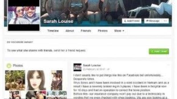 """Lời cấu cứu của Sarah trên Facebook khi bị mắt kẹt tại Việt Nam. Cô mở đầu bằng câu: """"Hiếm khi nào tôi viết những điều như thế này lên Facebook nhưng hoàn cảnh lần này thật sự rất bi đát""""."""