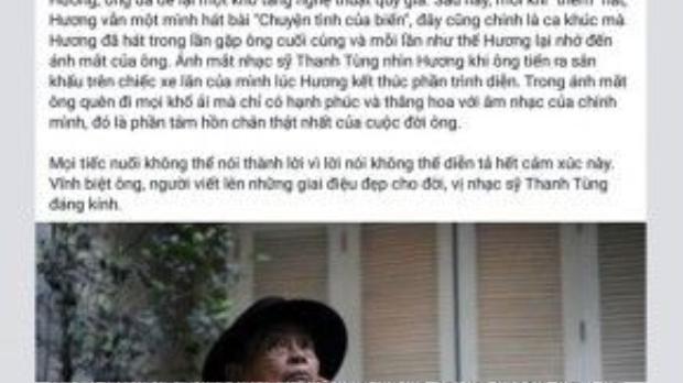 Dòng chia sẻ đầy cảm động mà Hồ Quỳnh Hương dành cho nhạc sĩ Thanh Tùng.