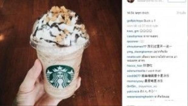 Món frappuccino với topping lạ, gây tò mò thường xuyên xuất hiện trên Instagram của Golf.