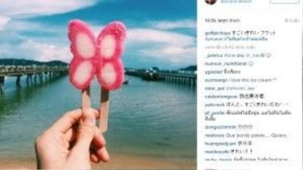 Anh chàng tỏ ra rất thích thú khi phát hiện món kem dâu hình bươm bướm trong chuyến du lịch biển tại Phuket.