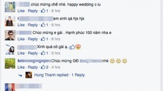 Ngay sau những hình ảnh đám cưới được chia sẻ trên trang Facebook cá nhân, rất đông bạn bè, người hâm mộ gửi lời chúc phúc đến Á hậu Ngô Trà My.