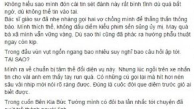 Chia sẻ của ca sĩ Trần Lập về căn bệnh ung thư trực tràng mà a đã mắc phải.