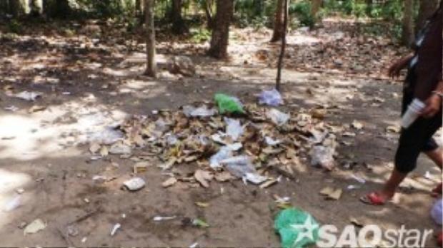 Khuôn viên chùa thời điểm nào cũng có những đống rác thải.