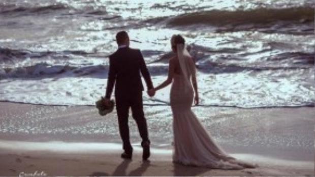 Ảnh cưới được á hậu chia sẻ trên trang cá nhân