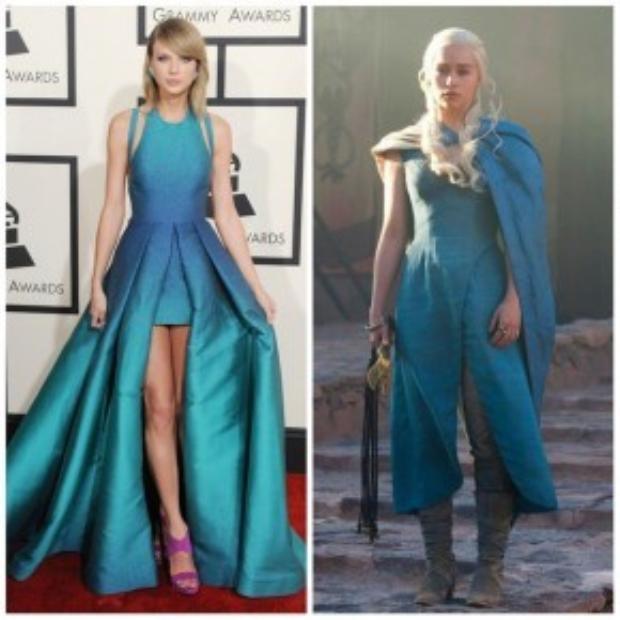 Taylor trên thảm đỏ có nhiều nét tương đồng với Dany mạnh mẽ trong season 3 của GOT.