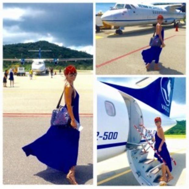 Trong chuyến du ngoạn Phú Quốc vừa qua, siêu mẫu đã lựa chọn di chuyển bằng máy bay ATR72 (65 chỗ ngồi) do Pháp sản xuất.