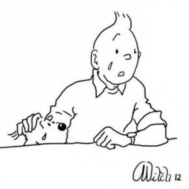 Chàng phóng viên trẻ Tintin và cả chú cún cưng của mình đều rơi lệ trước thảm kịch quê hương.