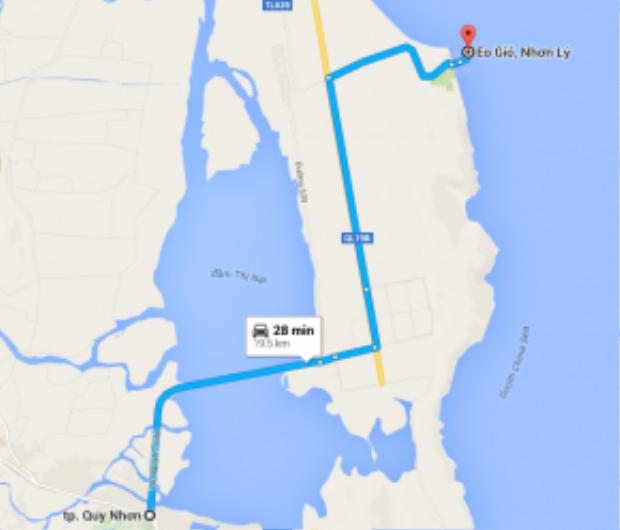 """Vị trí Eo Gió trên Google Maps khi chọn điểm xuất phát từ trung tâm TP Quy Nhơn. Với quãng đường chưa tới 20km, nếu đi bằng ô tô sẽ mất khoảng 30 phút để tiếp cận """"điểm ngắm hoàng hôn đẹp nhất Việt Nam"""". Ảnh: Vũ Nguyễn."""