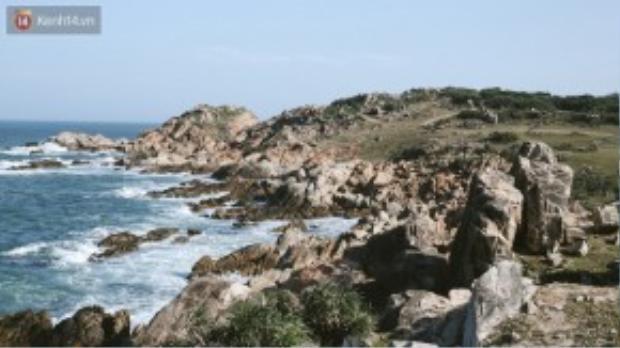 Bạn sẽ phải lặng người trước hình ảnh hàng đá trải dài hun hút ven biển, và những con sóng bạc đầu tung bọt trắng xoá, đẹp như một bức tranh.