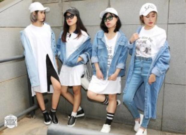 Denim màu sáng mix cùng trang phục trắng là một trong những combo thời trang thịnh hành vượt thời gian.