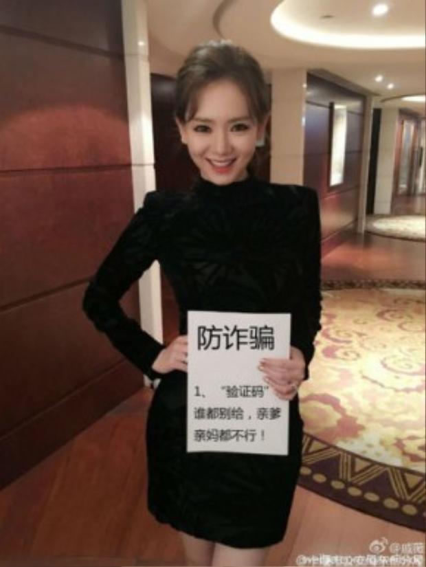 """Nữ diễn viên Qi Wei với thông điệp """"Không nên cung cấp các mã xác minh như chứng minh dân nhân. hộ chiếu cho bất cứ ai, thậm chí là bố mẹ của bạn!"""""""