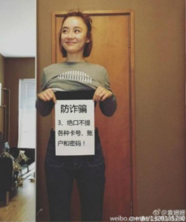 """Nữ diễn viên Yuan Shanshan khuyên bạn hãy chú ý bảo mật mọi thứ và """"Không bao giờ tiết lộ số thẻ ngân hàng, tài khoản ngân hàng và mã PIN!"""""""