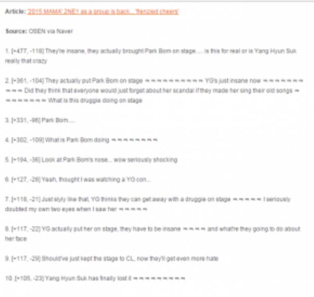 Netizen Hàn liên tục đưa ra các bình luận gắt gao về việc 2NE1 không comeback nhưng lại được biểu diễn hay là việc không nên đưa Park Bom xuất hiện. (Nguồn: Netizenbuzz)