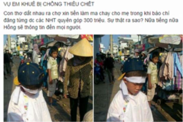 Tài khoản Facebook đưa cảnh hai đứa trẻ mồ côi đi xin tiền tại Phan Thiết.