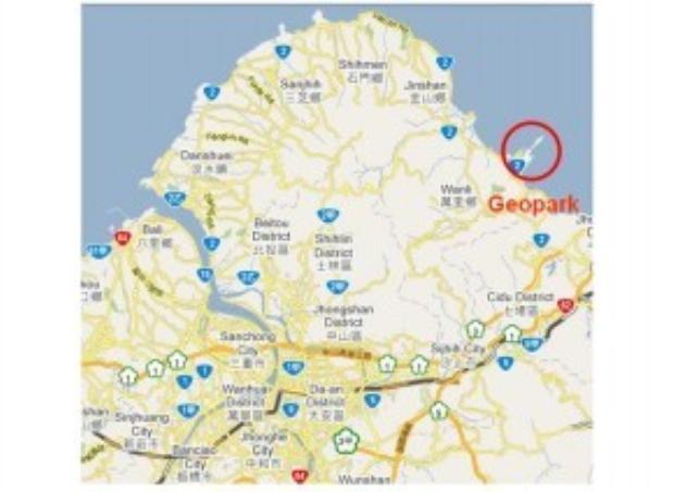 Bản đồ đánh dấu khu vực công viên địa chất Yehliu. Nằm ở gần điểm cực Bắc đảo Đài Loan, công viên này bao gồm một bờ biển dài 1.700m và tiếp giáp với Thái Bình Dương, hướng về phía Nhật Bản.