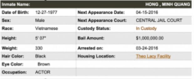 Thông tin về nghệ sĩ Minh Béo trên hệ thống nhà tù Theo Lacy, California.