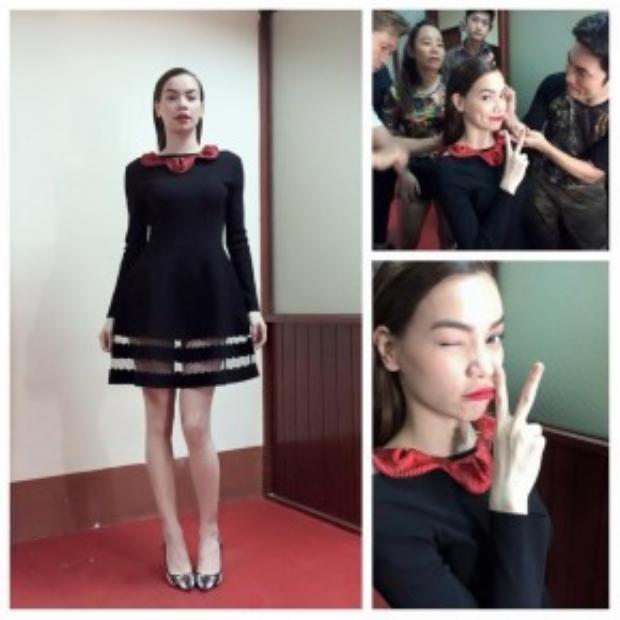 Nếu như Hoàng Ku mang đến nét quyến rũ, sắc sảo cho Thanh Hằng thì Lê Minh Ngọc lại mang đến sự thanh tao, tinh tế cho Hồ Ngọc Hà với chiếc váy đen dáng phồng thiết kế tối giản.