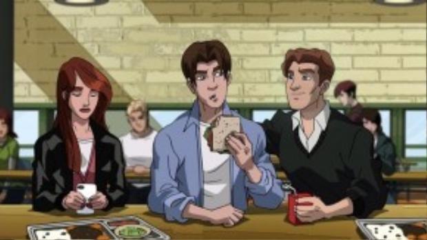 Peter cùng hai người bạn thân là Mary Jane và Harry Osborn.
