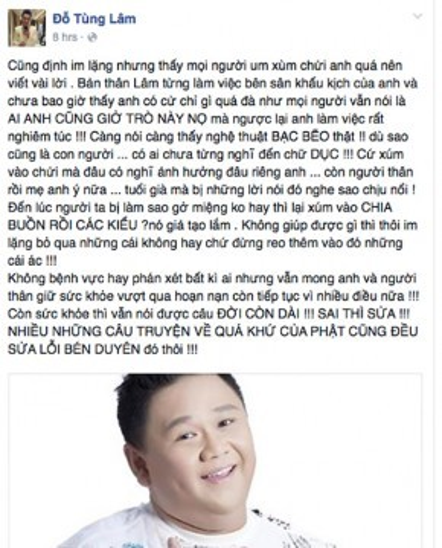 Ca sĩ Tùng Lâm chia sẻ quan điểm cá nhân về vụ việc của Minh Béo.
