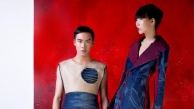 """Xuất hiện trong bộ hình mang hai phong cách """"đối đầu nhau"""", Kim Phương và Võ Thành An đã hoàn toàn khéo léo lồng ghép những mảng color block hiện đại của concept chụp hình và những trang phục mang những nét đặc trưng của châu Á."""