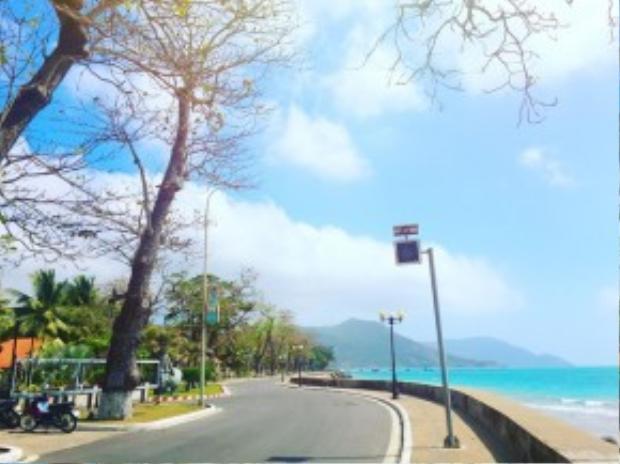 Cung đường nằm ngay sát biển, hầu hết thời gian trong ngày vắng người qua lại.