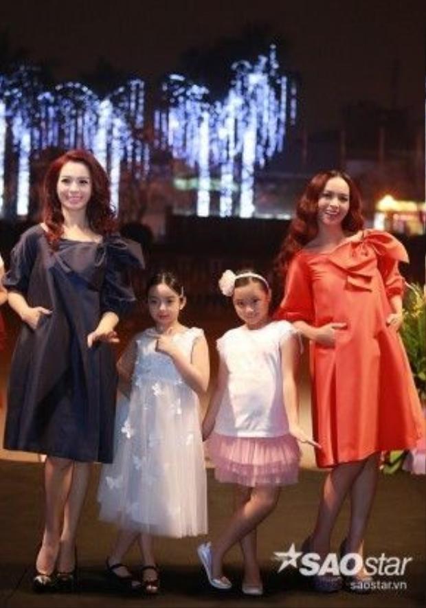 Cựu người mẫu Thúy Hằng, Thúy Hạnh và hai con gái, bé Bông và Suti.