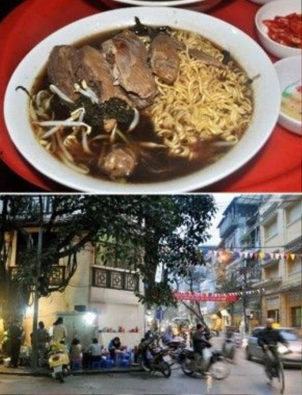Quán mì gà tân nổi tiếng ở góc phố Lương Văn Can.Ảnh: Yến Hoa