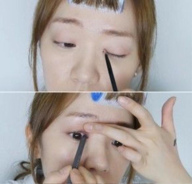 Toàn bộ phần trang điểm mắt trong video này chỉ sử dụng 1 màu phấn mắt (hồng nhạt không nhũ) và 2 cây eyeliner, một đen và một nâu.