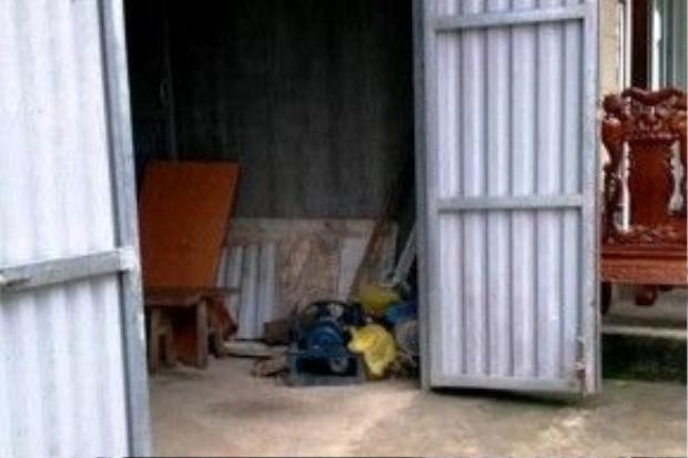 Góc nhà đặt máy bơm, nơi nữ sinh tử vong.