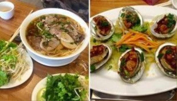 Lý Hải và bé Rio nghiện món bún hò Huế ở quán Song Hương.