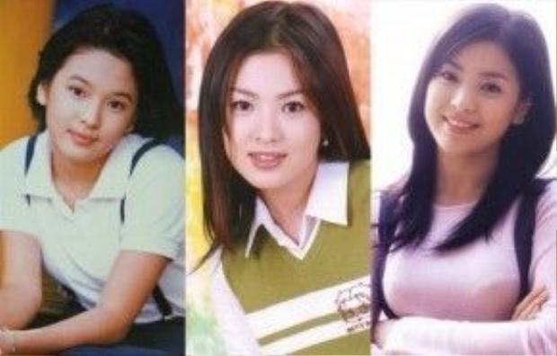 Song Hye Kyo những ngày mới vào nghề. Cô gây ấn tượng với gương mặt bầu bĩnh và đôi mắt đẹp.