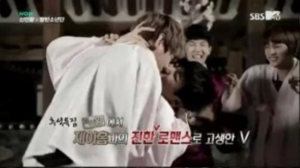 Trong một chương trình thực tế, hai anh chàng nhóm BTS đã hôn nhau.