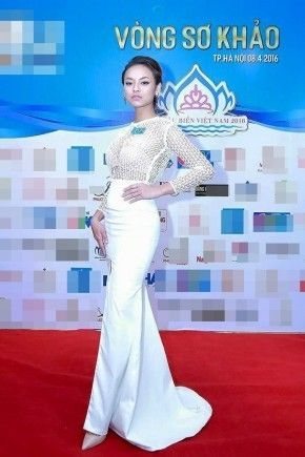 Quỳnh Mai xuất hiện tại vòng sơ khảo Hoa hậu biển với trang phục váy trắng nửa thân trên xuyên thấu mắt lưới, vòng một lấp ló của cô khiến mọi ánh mắt của người đối diện phải tò mò.