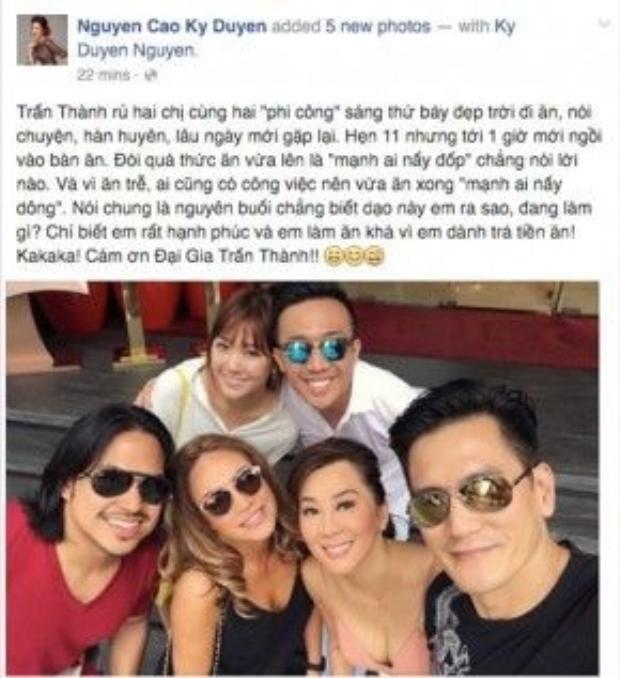 MC Nguyễn Cao Kỳ Duyên chia sẻ cảm xúc sau khi đi ăn trưa cùng Trấn Thành.