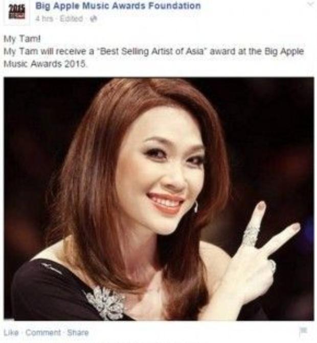 Cô cũng thu hút giới truyền thông quốc tế trong lần được xướng tên cho giải thưởng 'Best Selling Artist of Asia' vào năm 2015.