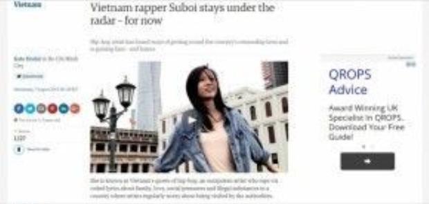 Suboi trong cuộc phỏng vấn với trang The Guardian tại TP Hồ Chí Minh vào năm 2013.