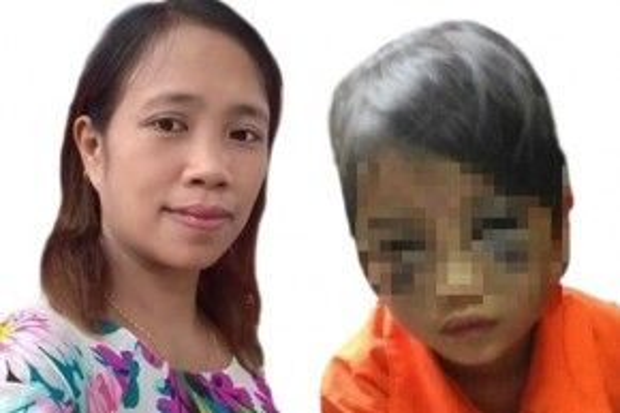 """Cô giáo Trần Thị Thu Trà (trái) đã đánh bầm mặt bé T. (trái), một học sinh lớp 1 vì em """"nhận thức chậm"""" trong giờ chính tả."""