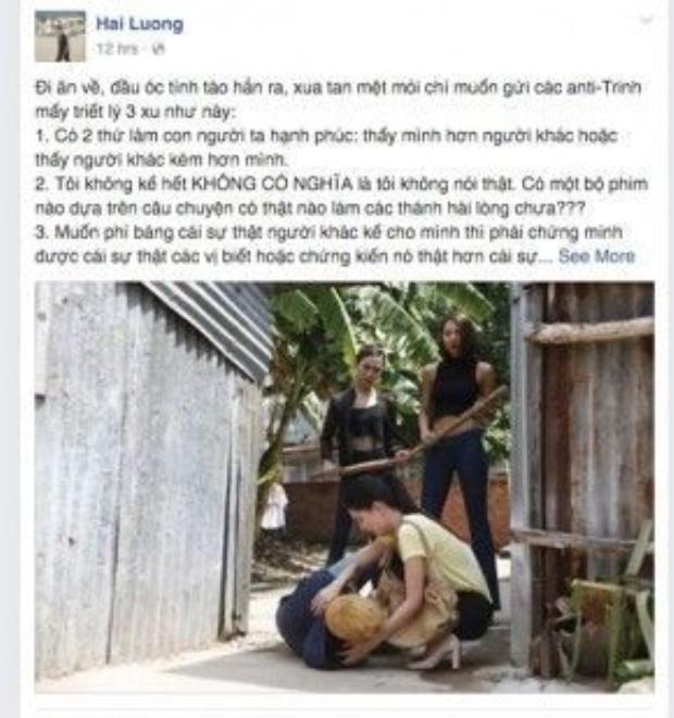 """Lương Mạnh Hải vô cùng bức xúc khi đọc những lời """"mạt sát"""" dành cho Ngọc Trinh trên mạng xã hội."""